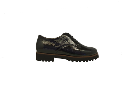Waldlaufer 'Elisa' Lace up Patent Shoe In Black